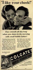 A 1933 print add for Colgate Rapid-Shave Cream