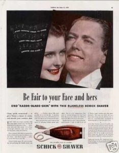 A 1939 ad for a Schick brand electric razor