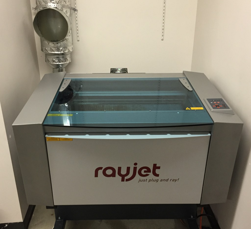 RayJet 300 80W CO2 laser. Vent is shown in the upper left corner of the photo.