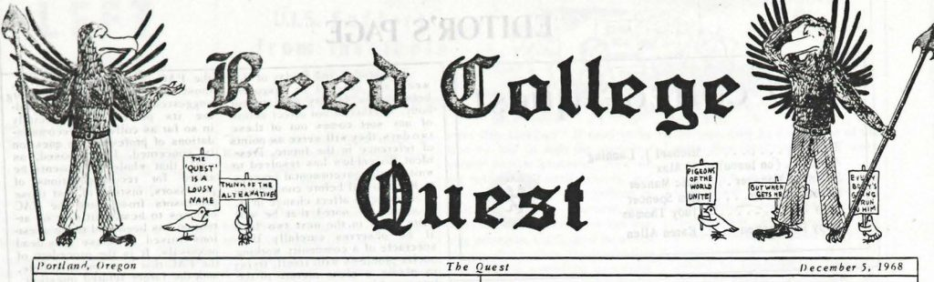 "Masthead reads ""Reed College Quest"""