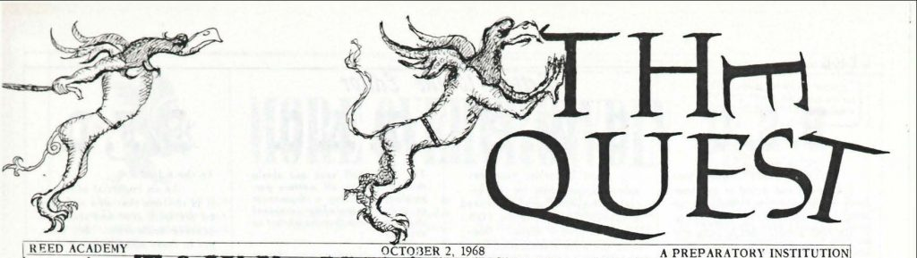 "Masthead reads ""The quest"", with the words being pushed over by griffins"