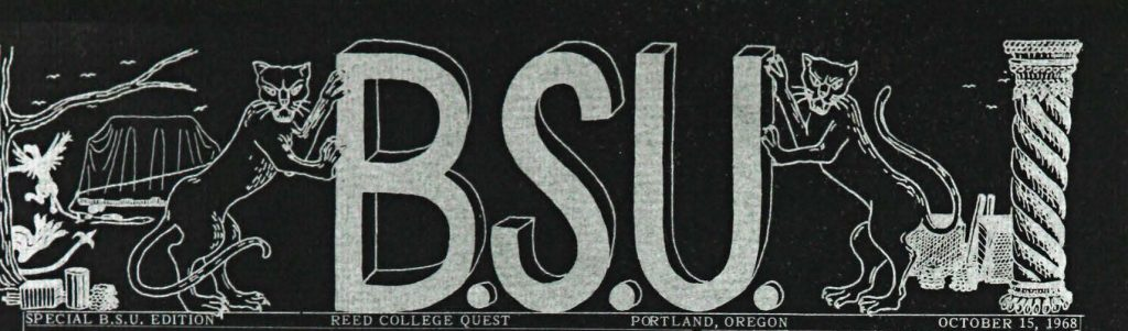 Masthead reads: BSU Special BSU edition Reed College Quest