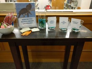 "A table with a bowl of candy, a sign that reads ""How do you access library databases?"", a vase of pebbles, and three jars reading ""Library Research Guides"", ""A-Z Database list"", and ""Seach the catalog""."