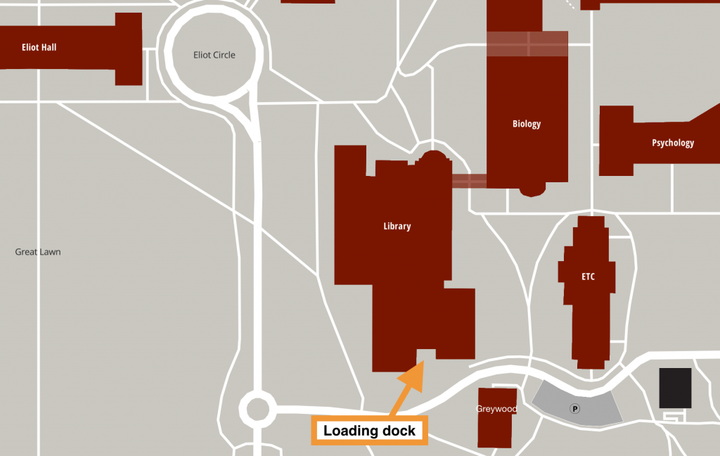 "Reed College campus map of library and surrounding buildings, with an arrow pointing to the loading dock on south side of the library. The arrow has a label of ""loading dock""."